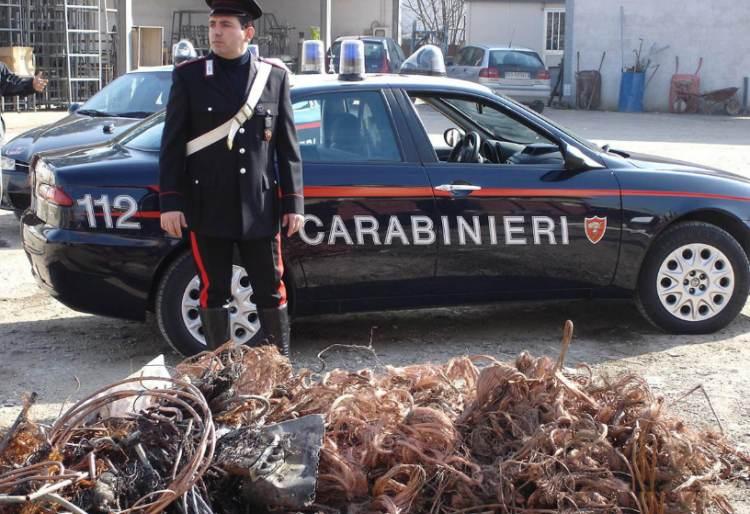 Furto di cavi elettrici in rame, i carabinieri eseguono 10 misure cautelari